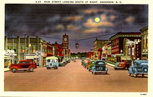 SC - Anderson. Main St looking south at night