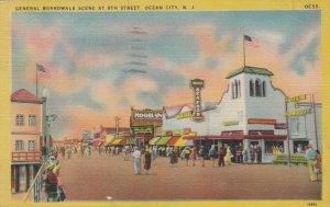 OCEAN CITY , New Jersey , 1930-40s ; General Boardwalk Scene at 8th Street