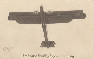UK 2-Engine Hadley Page Airplane , climbing , 1910s; TUCK