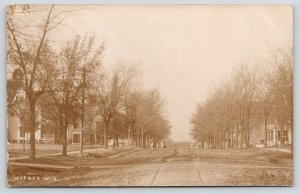 Warren Wisconsin~Railroad Crossing @ End of Wide, Dirt Residential St~RPPC 1910
