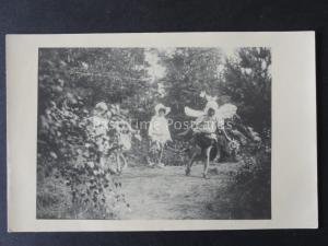 Children Playing FAIRY DANCE in Garden c1930's RP Postcard