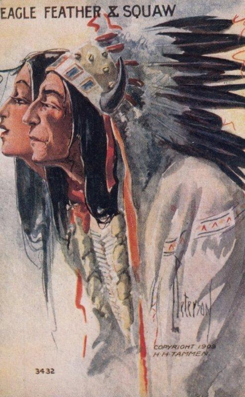 Artist Peterson : Indian Portrait  Eagle Feather & Squaw   , 00-10s