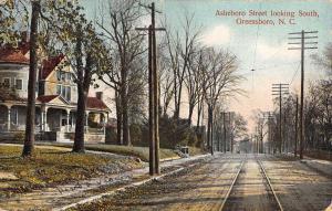 Greensboro North Carolina Asheboro Street Scene Antique Postcard K46775