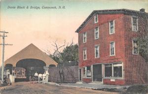 Contocook NH Davis Block Store Covered Bridge Horse & Wagon Postcard