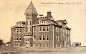 Waterville Kansas~Public School~Sheds Back Behind~1908 Sepia Postcard