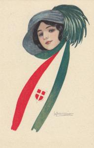 ART DECO ; Country Flag Scarf Girl #8 , 1910-30s