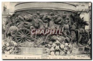 Old Postcard Troyes Bas relief of the monument of the children & # 39aube by ...