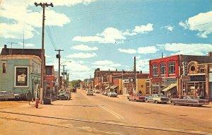 Shediac New Brunswick Canada Main Street Storefronts Old Cars Postcard