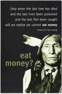 Cree We Cannot Eat Money Native American Quote Postcard #1