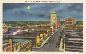 South Carolina Greenville Main Street At Night 1944