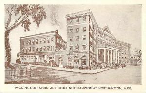 Wiggins Old Tavern & Hotel at Northampton, Massachusetts, MA White Border