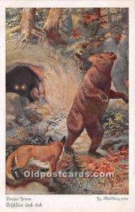 Bear Postcard Artist Gg Muhlberg Unused