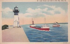 Pennsylvania Erie Lighthouse and Inlet To Erie Bay Curteich