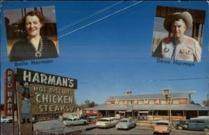 Mesa AZ Harman's Red Barn Restaurant 50s Cars Neon Sign Postcard