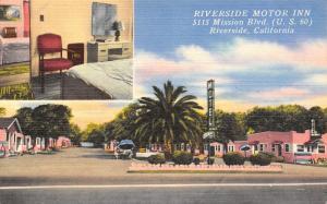 Riverside CA~Motor Inn @ 5115 Mission Blvd (Rt 50)~Linen Roadside~Radios 1940s