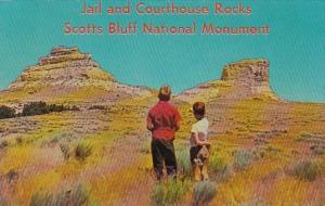 Nebraska Jail and Courthouse Rocks Scotts Bluff National Monument Near Bridge...