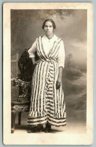 Real Photo Postcard~Strong Patriotic Woman~Stars & Stripes~Studio Portrait~c1916