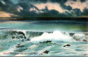 Maine Old Orchard Beach Storm Scene 1910