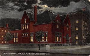 Rochester Minnesota~Public Library & YMCA A Night~Moon Crawls Under Clouds c1910