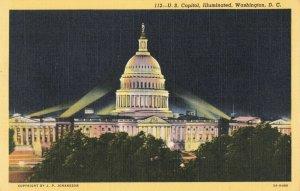 Postcard US Capitol Illuminated Washington DC