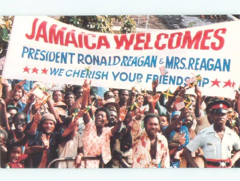 1982 JAMAICAN CROWDS WELCOME PRESIDENT RONALD REAGAN Country Of Jamaica E7453-12