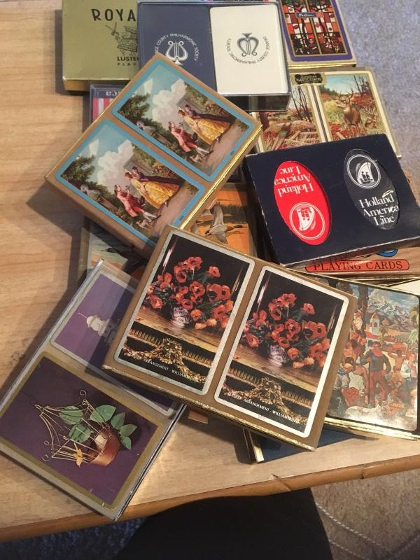 Vintage Playing Cards:Lot of 39 Double Decks assorted bridge canasta etc