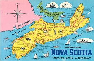 Greetings from Nova Scotia Map Postcard NS