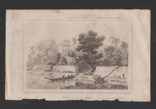 years 1840s ART ANTIQUE PRINT TONGA FORT MAFANGA  sg DANV...