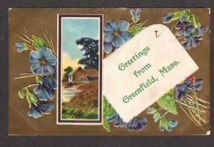 MA Old, Vintage Greetings GREENFIELD MASS MASSACHUSETTS Postcard Carte Postale