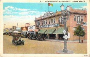Looking East On Second Street Tijuana Mexico American Cafe Bar W-Border Postcard