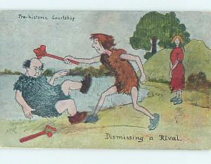 Pre-Linen comic CAVEMEN FIGHTING OVER CAVE WOMAN HL2313