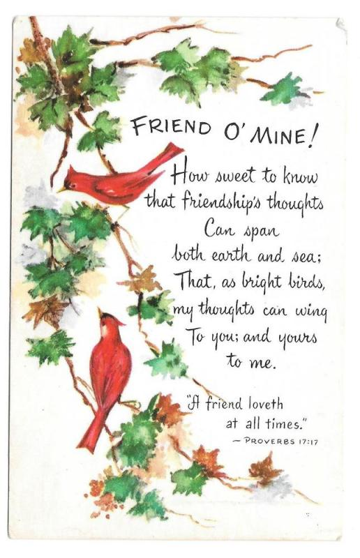 Friendship Poem Postcard Friend O Mine Birds Cardinals