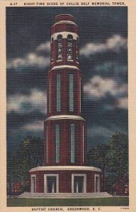 South Carolina Greenwood Night Time Scene Of Callie Self Memorial Tower Bapti...