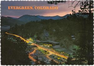 Evergreen, Colorado at night, unused Postcard