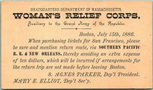 1886 Boston MA Postcard WOMAN'S RELIEF CORPS Southern Pacific Railroad - UNUSED