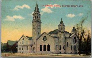 Colorado Springs Postcard 1st Methodist Church  Building View 1915 Cancel