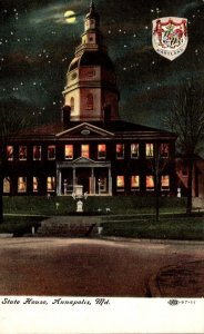 Maryland Annapolis State House At Night
