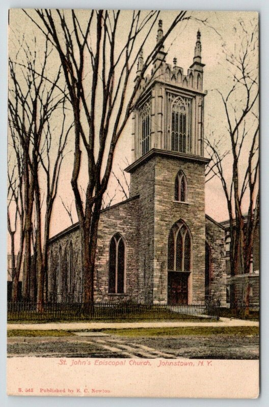 Johnstown New York~St John's Episcopal Church~Iron Spike Fence~c1905 Postcard