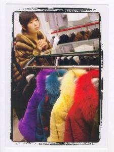 People´s Republic of China:  TIANJIN province , Native woman in fur coat, 2000