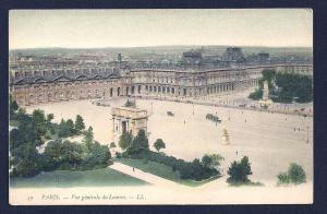 Paris birdseye view Louvre France unused c1905