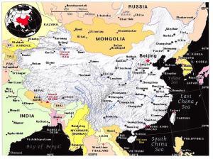 Giant Postcard Map of China, Mongolia, Burma, Nepal, 8x6inch 203x152mm OS106