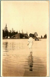 Vintage Real Photo RPPC Postcard Boy in Water / Bathing Scene Seattle 1914