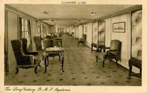 Cunard Line - RMS Aquitania. The Long Gallery