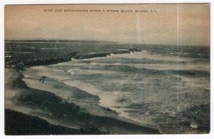 Block Island, R. I., Surf And Breakwater After A Storm