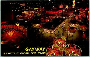 1962 SEATTLE WORLD'S FAIR Postcard GAYWAY Midway Rides Aerial View / Night
