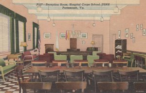 PORTSMOUTH , Virginia , 1930-40s ; Reception Room , Hospital Corps School , USNH