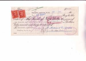 Cheque, Bank Of Nova Scotia, New Glasgow, 1934, Canadian Stamp
