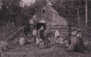 Hunting Scenes, Rustic Camp, Family Outside Their Log Cabin, 1900-1910s