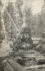 Logging Crew Steam Driven Winch Lumberjacks DEXTER OR Cancel c1910 RPPC