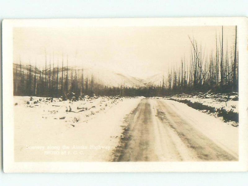 Pre-1949 rppc SCENERY ALONG ALASKA HIGHWAY Province Of British Columbia BC W1045